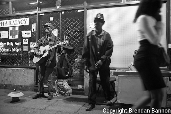 Busker, Kimoja, performs nightly on the strets of Westlands in Nairobi. (Brendan Bannon)