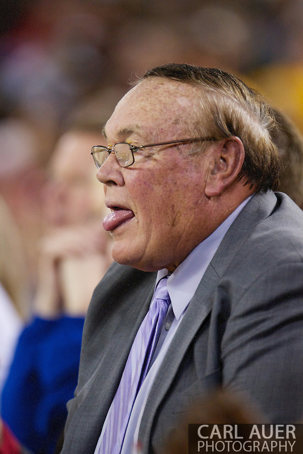 November 27th, 2010:  Anchorage, Alaska - St. John's Special Assistant and NCAA coaching legend Gene Keady sticks out his tongue in reaction to a call during the Red Storm's 67-58 victory against the Arizona State Sun Devil's to win the championship game of the Great Alaska Shootout. (Carl Auer)