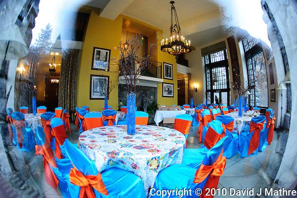 Fisheye View Into Ahawhnee Hotel Wedding Dinner Setup. Image taken with a Nikon D3x and 16 mm f/2.8 fisheye lens (ISO 800, 16 mm, f/2.8, 1/25 sec). (David J Mathre)