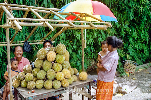 Bali, Buleleng, Singaraja. A family selling durian south of Singaraja. The taste of this characteristic fruit is definitely better than its smell. (Photo Bjorn Grotting)