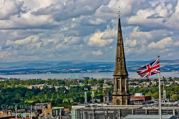 An arial view over Edinburgh with a Union Jack in the foreground (Ian C Whitworth)
