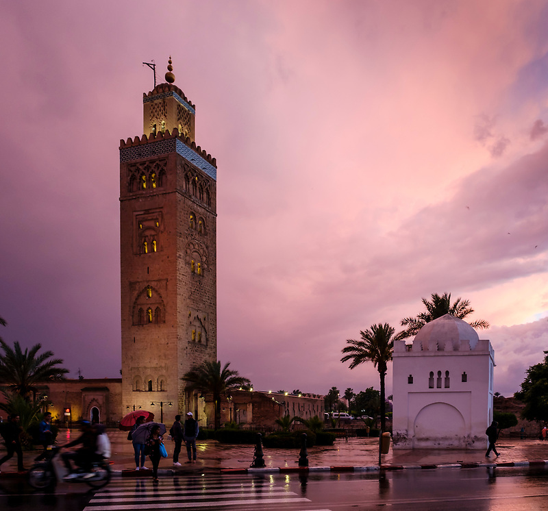 MARRAKESH, MOROCCO - CIRCA APRIL 2017: View of the Koutoubia Mosque minaret at dusk in Marrakesh (Daniel Korzeniewski)
