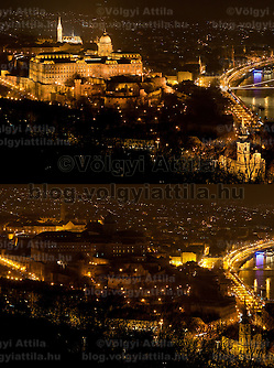 "The combination photo taken on March 26, 2011 shows the Castle of Buda before (Top) and during the ""Earth Hour"" in Budapest, Hungary. The ""Earth Hour"", initiated by the World Wild Fund for Nature (WWF) in 2007, calls on families and buildings to turn off the lights for one hour on the last Saturday night of March. ATTILA VOLGYI (ATTILA VOLGYI)"