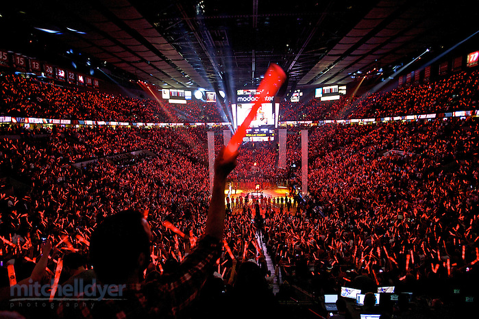 May 2, 2014; Portland, OR, USA; Blazer fans cheer during introductions in game six of the first round of the 2014 NBA Playoffs between the Portland Trail Blazers and Houston Rockets at the Moda Center. Mandatory Credit: Craig Mitchelldyer-USA TODAY Sports (Craig Mitchelldyer/Craig Mitchelldyer-USA TODAY Sports)