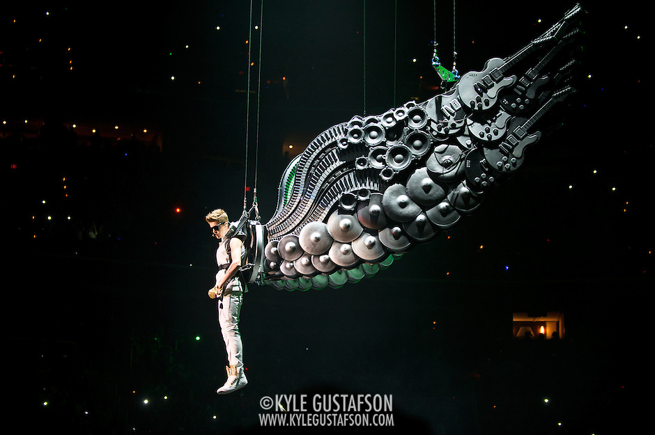 WASHINGTON, D.C. - November 5th, 2012 - Teen recording sensation Justin Bieber begins his concert at the Verizon Center in Washington, D.C. by entering on a giant pair of prop wings. (Photo by Kyle Gustafson/ For The Washington Post) (Kyle Gustafson/For The Washington Post)