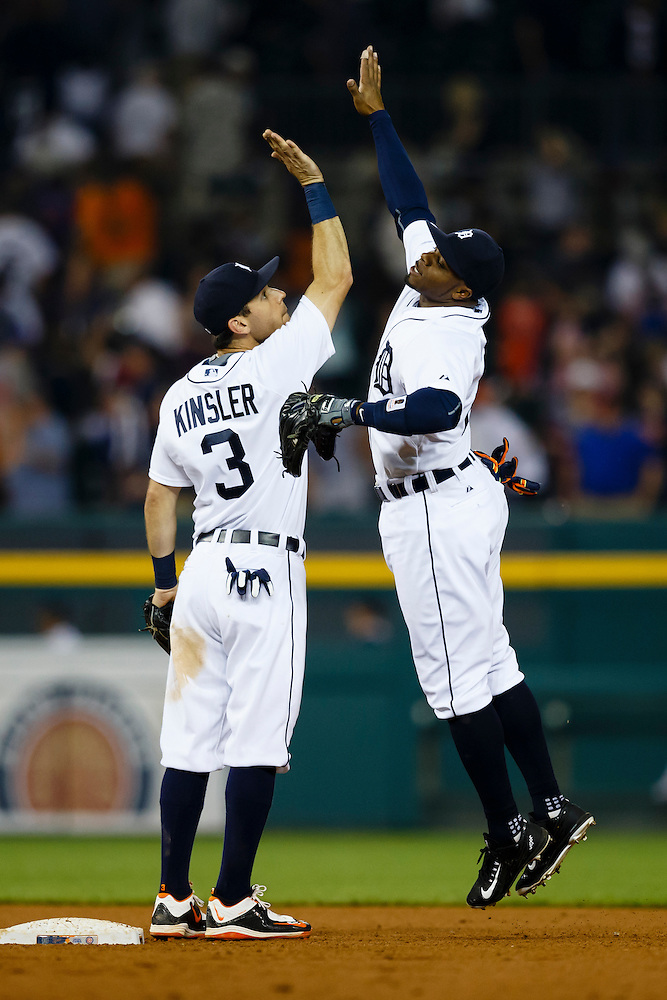 Jun 9, 2015; Detroit, MI, USA; Detroit Tigers second baseman Ian Kinsler (3) and Detroit Tigers center fielder Rajai Davis (20) celebrate after the game at Comerica Park. Mandatory Credit: Rick Osentoski-USA TODAY Sports (Rick Osentoski/Rick Osentoski-USA TODAY Sports)