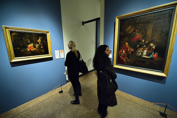 VENICE, ITALY - NOVEMBER 23:  Two women admire two different paintings by Lorenzo Lotto at the press preview of Tribute to Lorenzo Lotto - The Hermitage Paintings at Accademia Gallery on November 23, 2011 in Venice, Italy. The exhibition which includes two very rare & never seen before paintings opens from the 24th November 2011 to 26th February 2012 in Italy. (Marco Secchi/Getty Images)