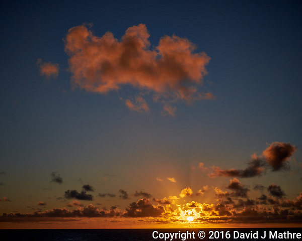 Sunrise panorama from the aft deck of the MV World Odyssey. Image taken with a Fuji X-T1 camera and 35 mm f/1.4 lens (ISO 200m, 35 mm, f/16, 1/250 sec). Raw image processed with Capture One Pro, noise reduction with NIK Define 2. (David J Mathre)