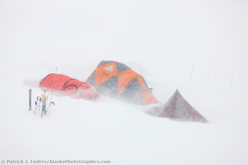 Denali Photos: Base camp on the Ruth glacier, Alaska Range, during snowstorm, Interior, Alaska. (Patrick J Endres / AlaskaPhotoGraphics.com)