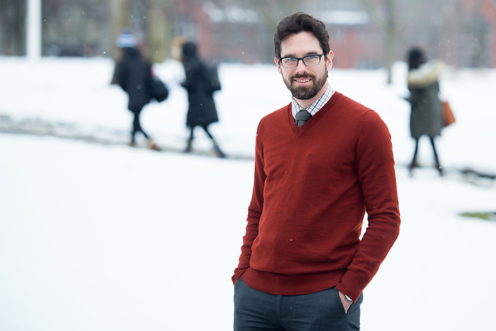2/10/16 – Medford/Somerville, MA – Dr. Sam Weiss Evans, professor of an STS Program course called Technoscience and the State, poses for a portrait on the Academic Quad on Wednesday, Feb. 10, 2016. (Evan Sayles / The Tufts Daily) (Evan Sayles / The Tufts Daily)