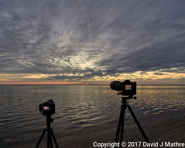 Cameras set up to photograph the sun rising under the Sunshine Skyway bridge from Fort De Soto Park in Pinellas County, Florida Image taken with a Leica T camera and 11-23 mm wide-angle zoom lens (David J Mathre)