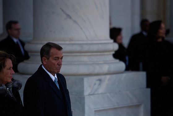 Congressional majority leader John Boehner watches President Barack Obama leave the US Capitol during the inauguration, January 21, 2013 in Washington, D.C. (Max Whittaker/Prime)