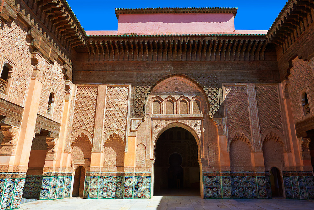 Berber arabesque Morcabe plasterwork of the 14th century Ben Youssef Madersa (Islamic college) re-constructed by the Saadian Sultan Abdallah al-Ghalib in 1564 as the largest and most prestigious Medersa in Morocco. Marrakesh, Morroco (Paul E Williams)