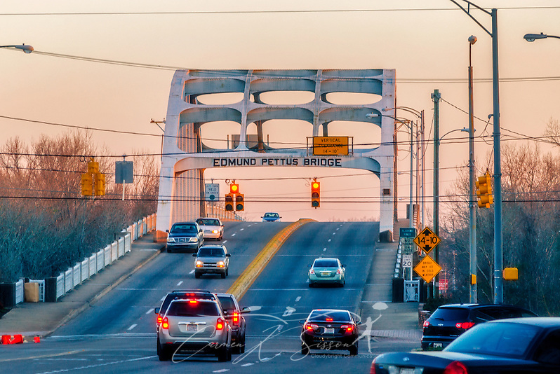 "Cars cross the Edmund Pettus Bridge, Feb. 14, 2015, in Selma, Alabama. The bridge was the site of ""Bloody Sunday,"" where state troopers and local law enforcement attacked civil rights activists as they attempted to march from Selma to Montgomery, March 7, 1965. (Photo by Carmen K. Sisson/Cloudybright) (Carmen K. Sisson/Cloudybright)"