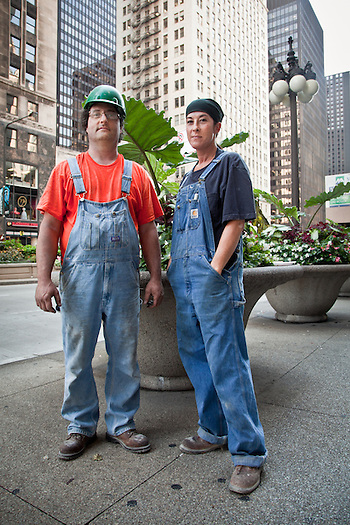 Sprinkler fitters and partners, Gina and Bill, Chicago, Illinois (Clark James Mishler)