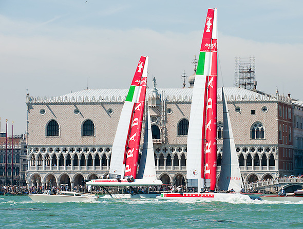 Venice 10th May 2012 America's Cup  World series . Teams test their boats  in St Mark's basin..HOW TO LICENCE THIS PICTURE: please contact us via e-mail at sales@xianpix.com or call our offices in Venice at (+39) 41963 7374 or London +44 (0)207 1939846 for prices and terms of copyright. First Use Only ,Editorial Use Only, All repros payable, No Archiving.© MARCO SECCHI (Marco Secchi)