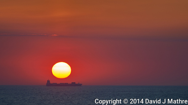 Sunrise on the Bay of Biscay from the Deck of the MV Explorer. Semester at Sea, Summer 2014 Semester Voyage. Image taken with a Nikon Df camera and 70-200 mm f/4 VR lens (ISO 100, 200 mm, f/8, 1/125 sec). Raw image processed with Capture One Pro and Photoshop CC. (David J Mathre)