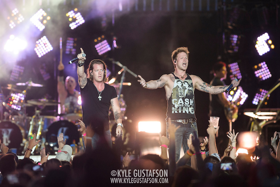 "WASHINGTON, DC - July 25, 2014 - Tyler Hubbard and Brian Kelley of Florida Georgia Line perform at Nationals Park in Washington, D.C. as part of Jason Aldean's Burn It Down Tour. The duo have had multiple singles top the US Country charts, including ""Cruise"" and ""This is How We Roll."" (Photo by Kyle Gustafson / For The Washington Post) (Kyle Gustafson/For The Washington Post)"