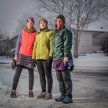 Hannah Moderow, Deanna Teders, and Ruth Glenn who have been running at lunch in Anchorage on most days for each of the past 17 years  hannah.moderow@gmail.com (Clark James Mishler)