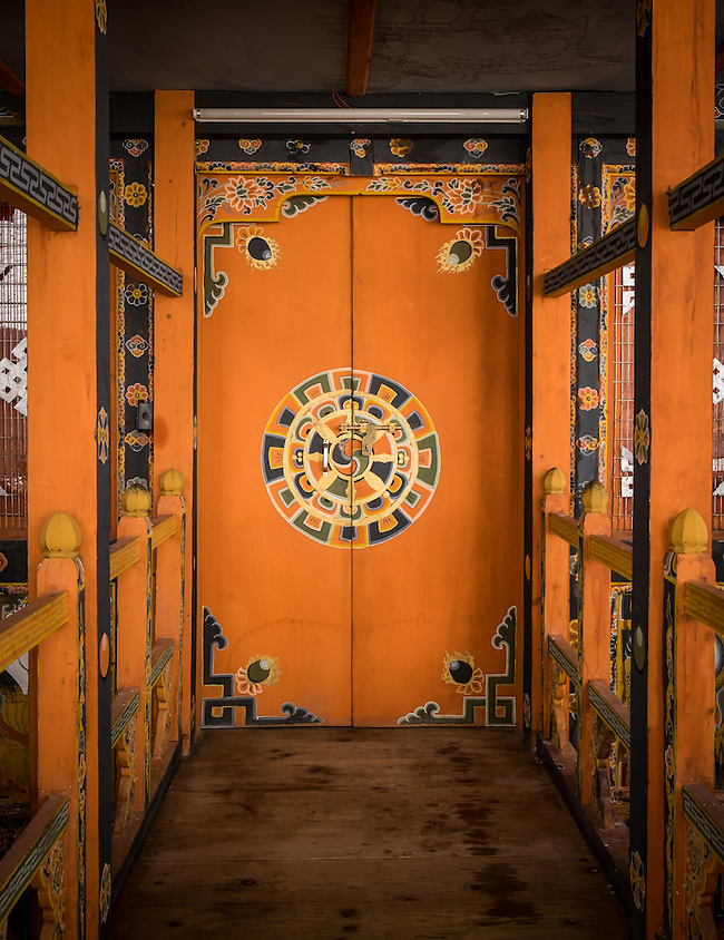 PUNAKHA, BHUTAN - CIRCA October 2014: Typical door inside the Punakha Dzong, a landmark in Punakha, Bhutan (Daniel Korzeniewski)