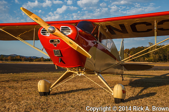 Mathew Northway's Interstate Cadet, NC37369, at Creswell Airport. on 9/21/14 at sunset. (Rick A. Brown)