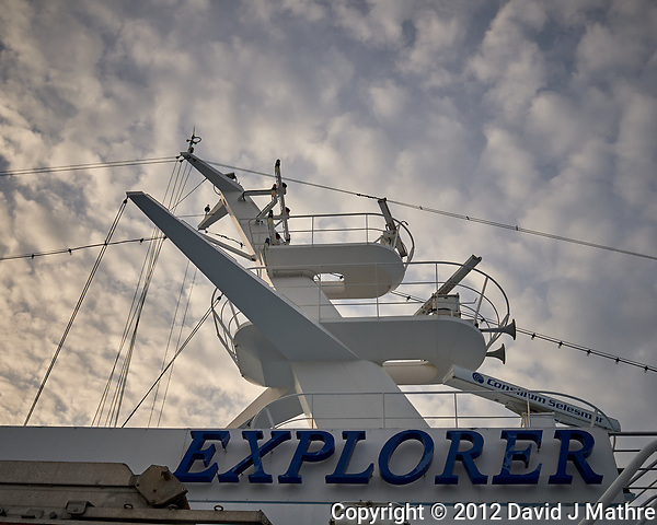 MV Explorer and Morning Clouds. Image taken with a Leica X2 camera (ISO 100, 24 mm, f/5.6, 1/500 sec). (David J Mathre)