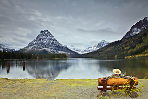 "Spectator at Two Medicine Lake in Glacier National Park (Daryl Hunter's ""The Hole Picture"" � Daryl L. Hunter has been photographing the Yellowstone Region since 1987, when he packed up his view camera, Pentex 6X7, and his 35mm�s and headed to Jackson Hole Wyoming. Besides selling photography Daryl also publ)"