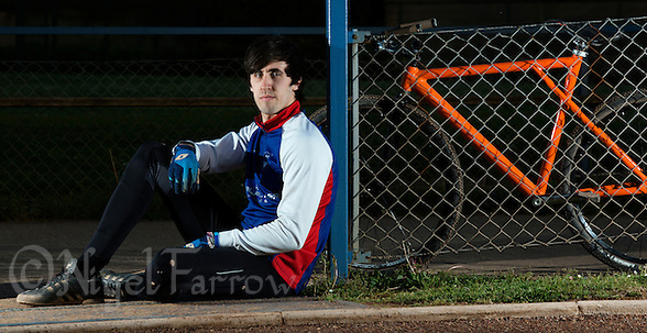 21 MAY 2015 - IPSWICH, GBR - Josh Brooke of Ipswich Cycle Speedway Club pictured at the club's track at Whitton Sports and Community Centre in Ipswich, Suffolk, Great Britain (PHOTO COPYRIGHT © 2015 NIGEL FARROW, ALL RIGHTS RESERVED) (NIGEL FARROW/COPYRIGHT © 2015 NIGEL FARROW : www.nigelfarrow.com)