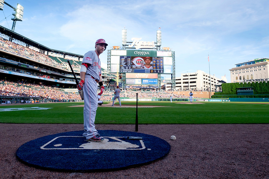 Jun 16, 2015; Detroit, MI, USA; Cincinnati Reds third baseman Todd Frazier (21) gets set to bat in the first inning against the Detroit Tigers at Comerica Park. Mandatory Credit: Rick Osentoski-USA TODAY Sports (Rick Osentoski/Rick Osentoski-USA TODAY Sports)