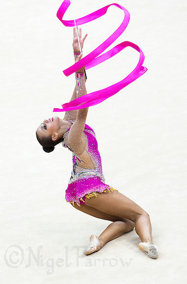 11 AUG 2012 - LONDON, GBR - Daria Dmitrieva (RUS) of Russia performs her ribbon routine during the 2012 London Olympic Games Individual All-Around Rhythmic Gymnastics final at Wembley Arena in London, Great Britain (PHOTO (C) 2012 NIGEL FARROW) (NIGEL FARROW/(C) 2012 NIGEL FARROW)