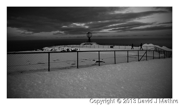 North Cape Monument. Northern most point in Norway. Image taken with a Nokia Lumia 900 cell phone. Image processed with Picasa and Google After Efects. (Picasa)