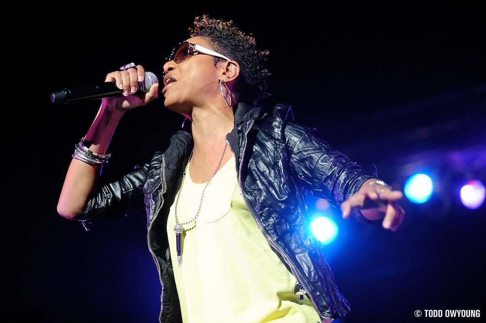 MC Lyte performing on the Legends of Hip Hop Tour at the Chaifetz Arena in St. Louis, Missouri on March 12, 2011. (Todd Owyoung)