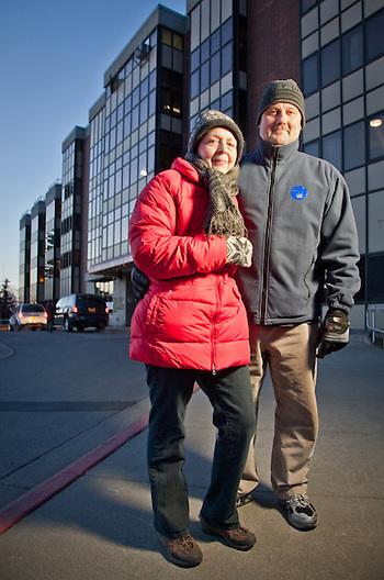 Gail and Hal Homer after casting their ballots on election night at the Anchorage Pioneer Home, downtown Anchorage. (Clark James Mishler)