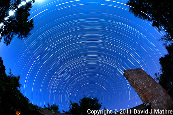 Star Trails - Northern Sky View (19:30-0545). Composite of images taken with a Nikon D3 camera and 16 mm f/2.8 fisheye lens (ISO 200, 16 mm, f/4, 119 sec exposures). (David J Mathre)