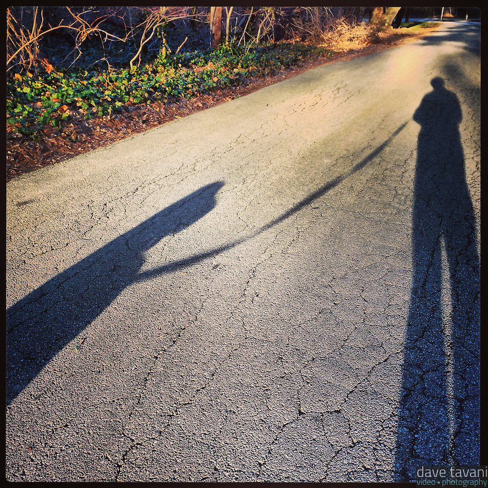 The sun casts long shadows of me and Elwood as we walk along Hermit Lane in the Roxborough section of Philadelphia January 20, 2013. (Dave Tavani)