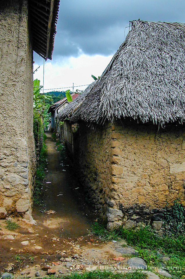 Bali, Karangasem, Tenganan. A traditional Bali Aga village. A narrow path between the buildings, most of the houses have thatched roofs. (Photo Bjorn Grotting)