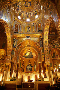Byzantine Christian Mosaics of The Palatine Chapel  ( Capella Palatina) in The Norman Palace (Palazzo dei Normanni), Palermo, Sicily (By Travel photographer Paul Williams. http://funkystockphotos.com)