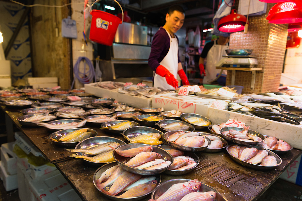 Fishmonger at Bowrington Road wet market, Hong Kong (Mark Eden)