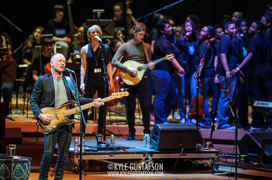NORTH BETHESDA, MD - March 12th, 2014 - Sting performs at the Strathmore Music Hall with students from The Duke Ellington School of the Arts during a fundraising event for the school. Over 1 million dollars was raised with the event, which also featured a performance from Paul Simon. (Photo by Kyle Gustafson / For The Washington Post) (Kyle Gustafson/For The Washington Post)
