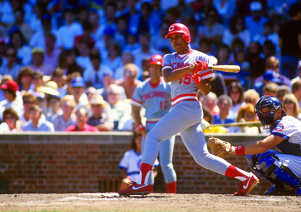 CHICAGO - AUGUST 22:  Barry Larkin of the Cincinnati Reds bats against the Chicago Cubs during an MLB game at Wrigley Field in Chicago, Illinois.  Larkin made his major league debut a few weeks earlier in Cincinnati. Larkin played for the Reds from 1986-2004.   (Photo by Ron Vesely)   Subject: Barry Larkin. (Ron Vesely)