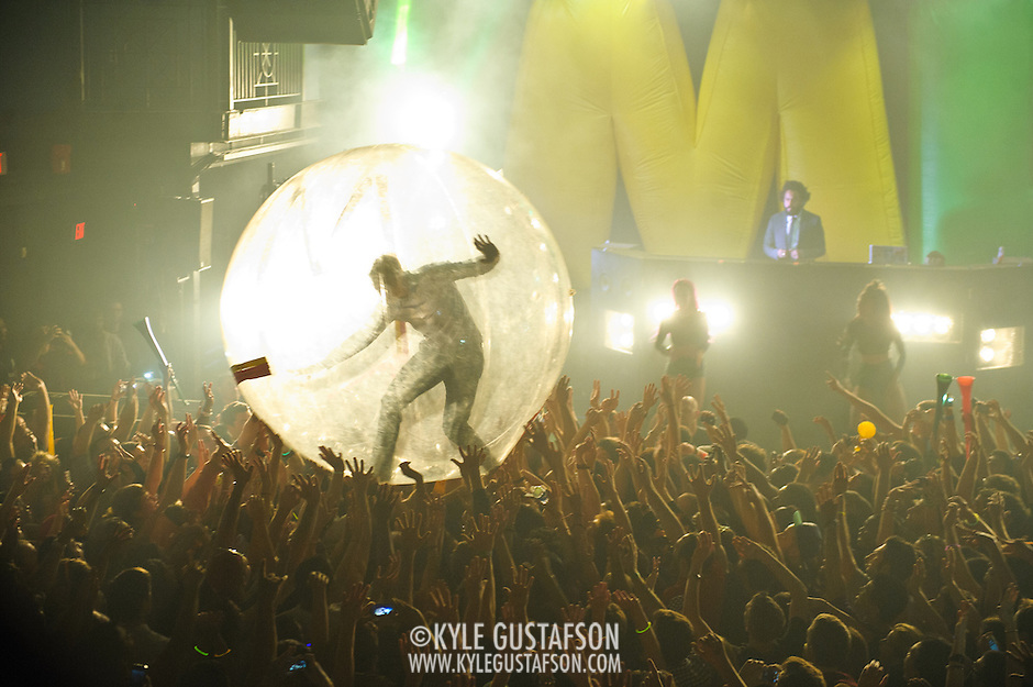 WASHINGTON, DC - October 26th, 2012 - Major Lazer DJ and group leader Diplo leaves his station behind the turntables to venture out into the crowd inside a plastic bubble during the group's performance at the 9:30 Club in Washington, D.C.  (Photo by Kyle Gustafson / For The Washington Post) (Kyle Gustafson/For The Washington Post)