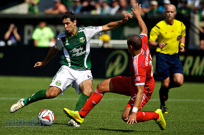September 7, 2014; Portland, OR, USA; Portland Timbers midfielder Diego Valeri (8) takes a shot at Providence Park. Photo: Craig Mitchelldyer-Portland Timbers (Craig Mitchelldyer)
