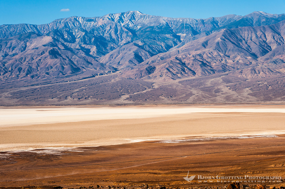 United States, California, Death Valley. View over Badwater Basin from Natural bridge road. Telescope Peak is the highest point within Death Valley National Park. (Photo Bjorn Grotting)