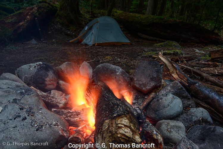 My camp fire at Lillian River camp. (G. Thomas Bancroft)