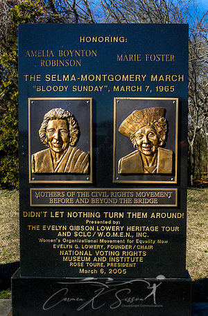 "A monument honors the ""Mothers of the Civil Rights Movement,"" Amelia Boynton Robinson and Marie Foster, at Civil Rights Memorial Park, Feb. 7, 2015, in Selma, Alabama. The park was established in 2001 and includes murals and plaques honoring those who led the Civil Rights movement in Selma in the 1960's. (Photo by Carmen K. Sisson/Cloudybright) (Carmen K. Sisson/Cloudybright)"