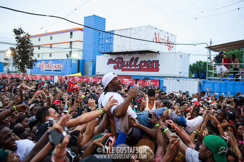 WASHINGTON, DC - August 17th, 2013 -  Rapper A$AP Ferg crowd surfs during his performance at the 2013 Trillectro Festival at the Half Street Fairgrounds in Washington, D.C.  (Photo by Kyle Gustafson / For The Washington Post) (Kyle Gustafson/For The Washington Post)