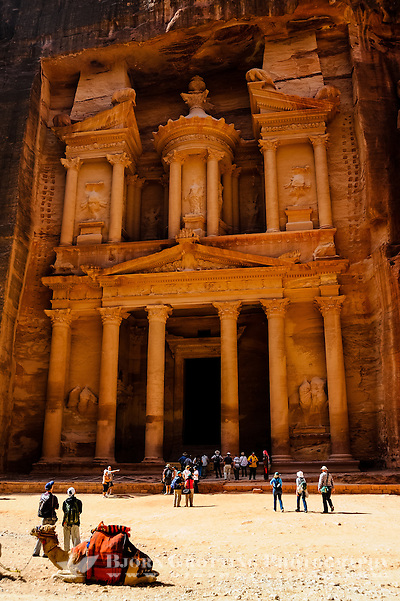 Petra is Jordan&#039;s most visited tourist attraction. Al Khazneh, The Treasury, is the most famous building. Dromedary transport. (Photo Bjorn Grotting)