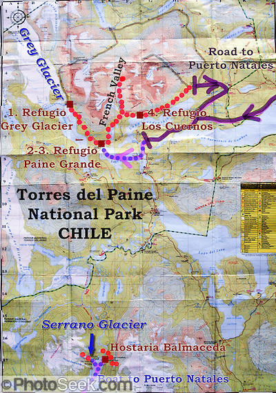 "In this map of Torres del Paine National Park (in Chile, South America), our hikes are shown as dotted red lines, including 5 days on the ""W Route"" and 2 days at Hostaria Balmaceda and the Serrano Glacier. The pink arrows with dotted blue lines are ferry routes. The purple lines are the park roads which connect to Puerto Natales off the map. (© Tom Dempsey / PhotoSeek.com)"