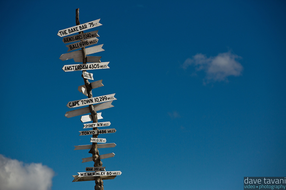 This sign shows the distances to several places around the world, including Mt. McKinley. (Dave Tavani)