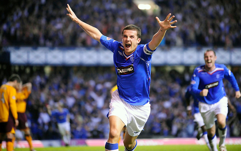 7TH MAY 2008, RANGERS V MOTHERWELL, IBROX STADIUM, GLASGOW, BARRY FERGUSON GOAL CELE, ROB CASEY PHOTOGRAPHY.. (ROB CASEY/ROB CASEY PHOTOGRAPHY)